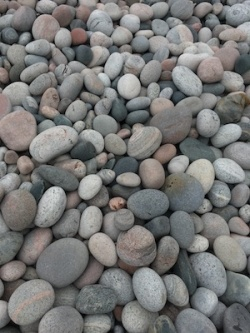 various sized rocks on beach